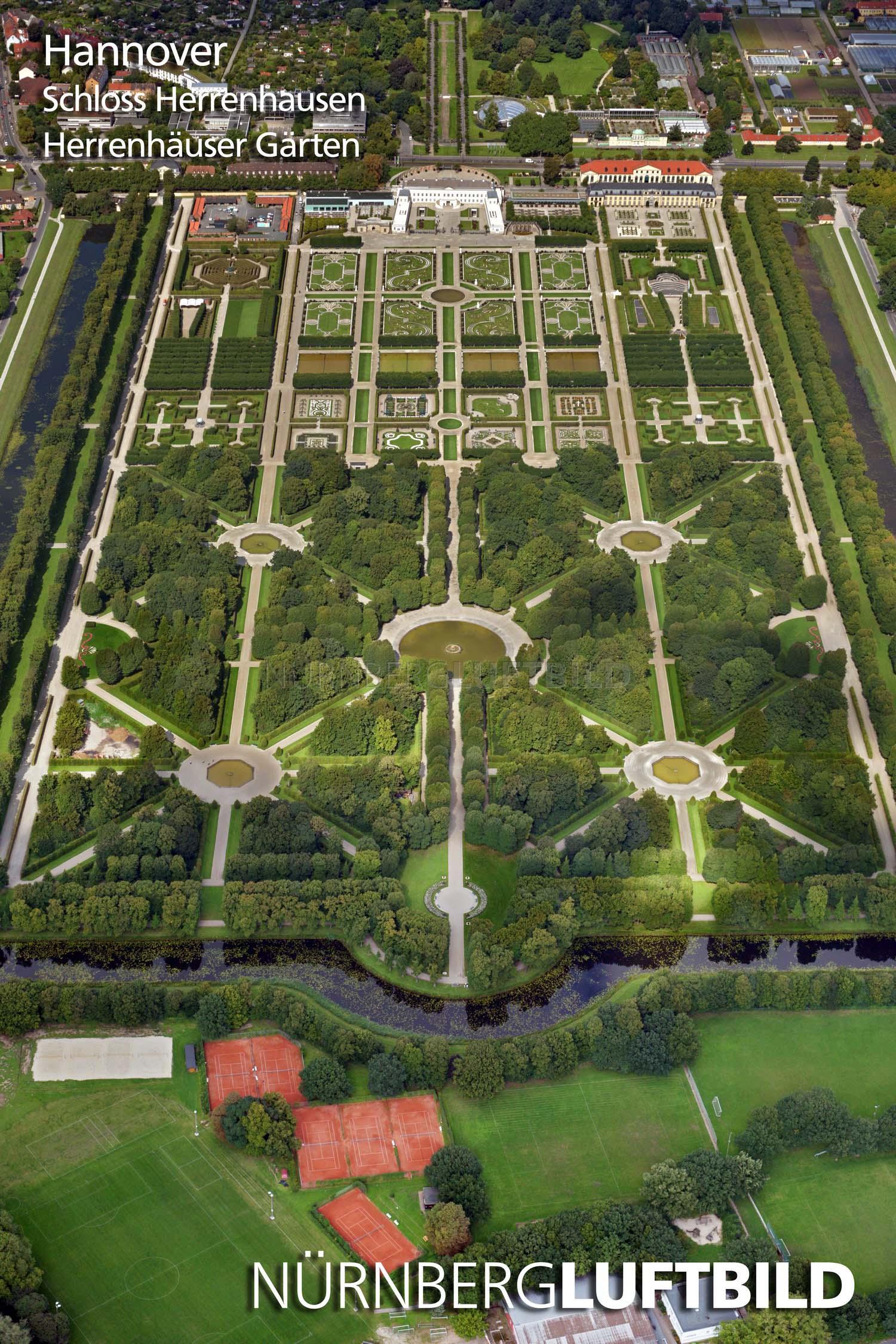 Schloss Herrenhausen Herrenhäuser Gärten Luftaufnahme