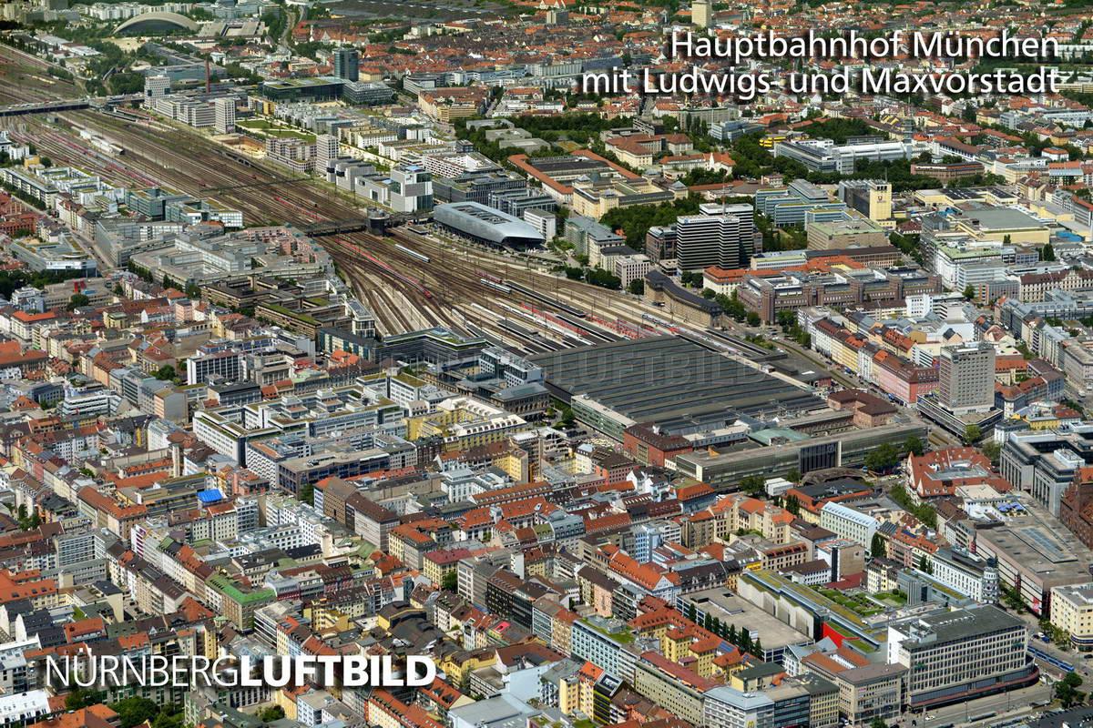 Hauptbahnhof München mit Ludwigs- und Maxvorstadt, Luftaufnahme