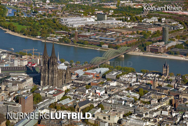 Süd-Westlicher Blick auf den Kölner Dom, die Hohenzollernbrücke und auf das Museum Ludwig, Köln, Luftaufnahme