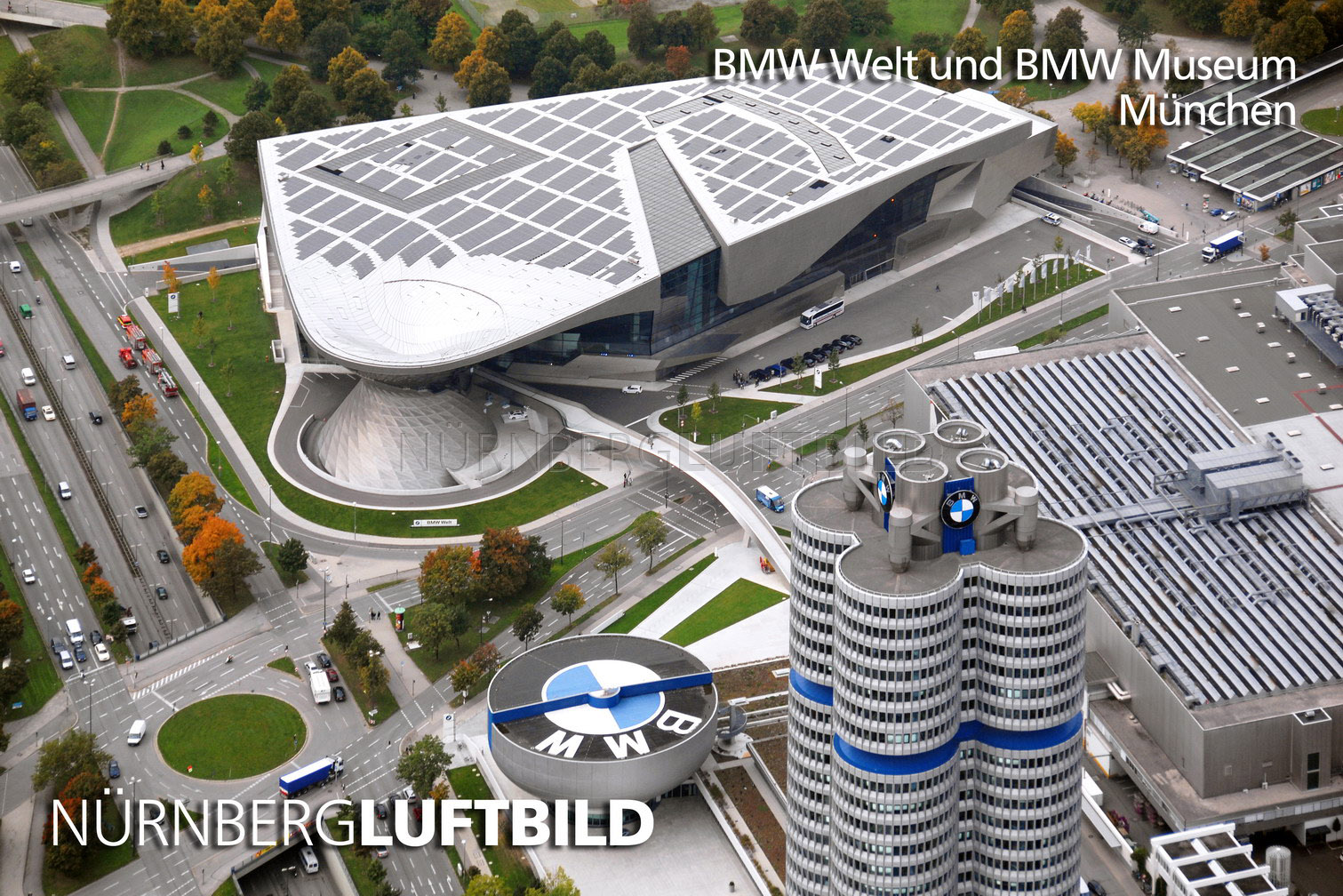 bmw museum und bmw welt m nchen luftaufnahme. Black Bedroom Furniture Sets. Home Design Ideas